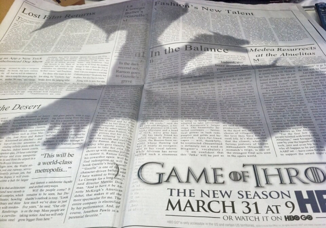 New York Times Game of thrones shadow-ad