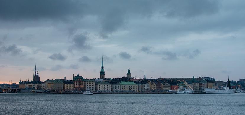 Stockholm i skymning 2014-11-30